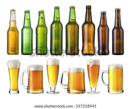 set of Beer bottles with water drops on beer glasses on white background.Five separate photos merged together. - stock photo