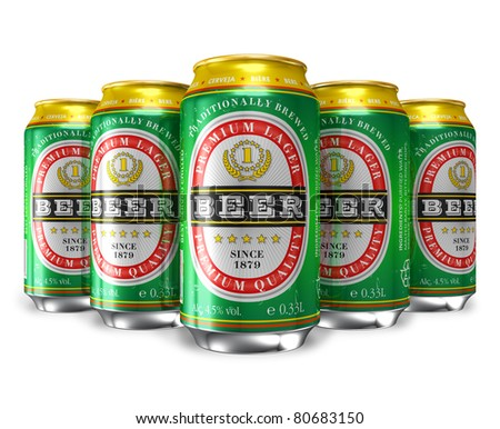 Set of beer cans isolated on white background - stock photo