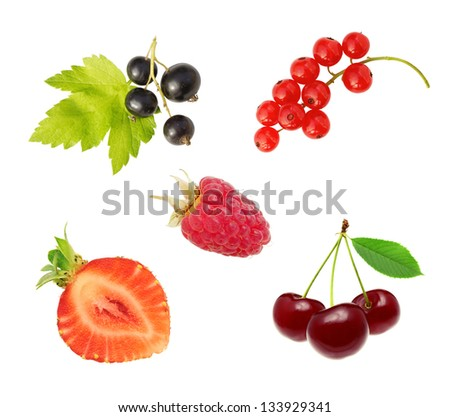 set of berries isolated on on white background - stock photo