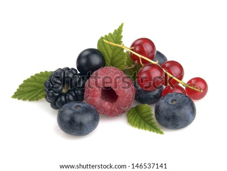 set of berries on a white background