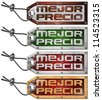 Set of Best Price Tag in Spanish - 4 Items / Grunge tags with steel cable and written best price in Spanish language - stock photo