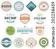 Set of bicycle graphics and design emblems - stock photo