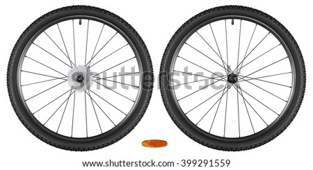 set of bicycle wheels isolated on white background