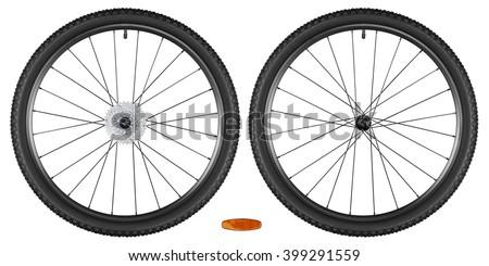set of bicycle wheels isolated on white background - stock photo