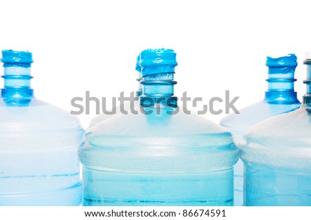 set of big bottles of water - stock photo