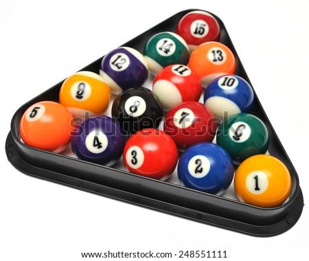 Set of billiard balls in triangle - stock photo