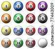Set of billiard's balls isoleted on white. There is a clipping path - stock vector