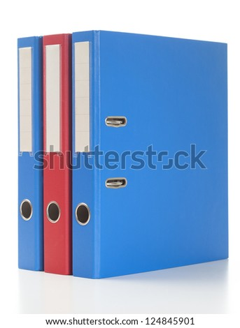 Set of binders in red and blue colors. Studio shot, isolated on white.