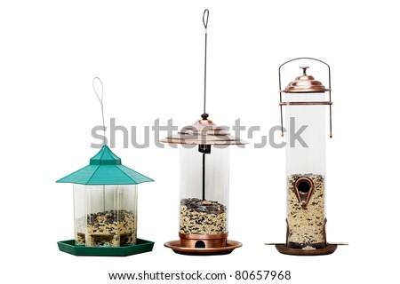 Set of bird feeders birdhouse isolated on white background - stock photo