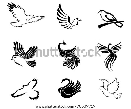 Set of bird symbols as a concept of peace - also as emblem or logo template. Vector version also available in gallery - stock photo