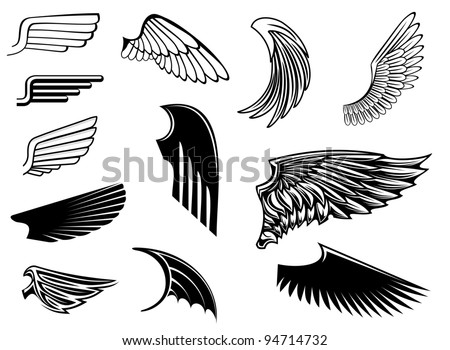 Set of bird wings for heraldry design, such a logo. Vector version also available in gallery - stock photo