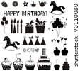 Set of Birthday icons. Isolated on white background.  illustration - stock vector