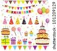 Set of birthday party elements. Raster version - stock photo