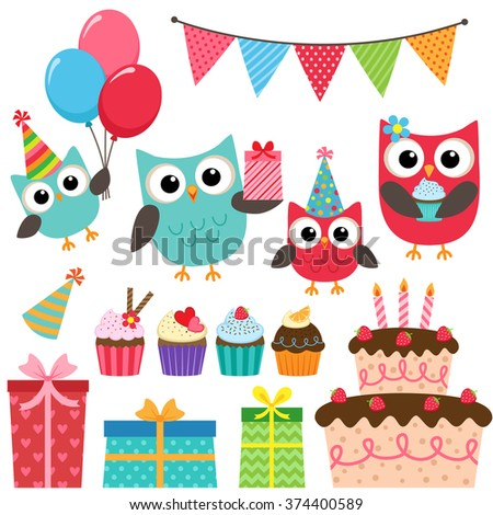 Set of birthday party elements with family of cute owls. Raster version - stock photo