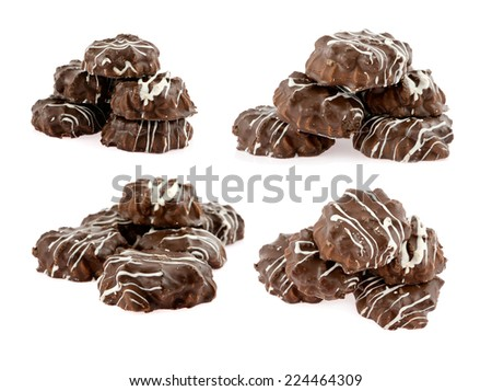 set of biscuits chocolate isolated - stock photo