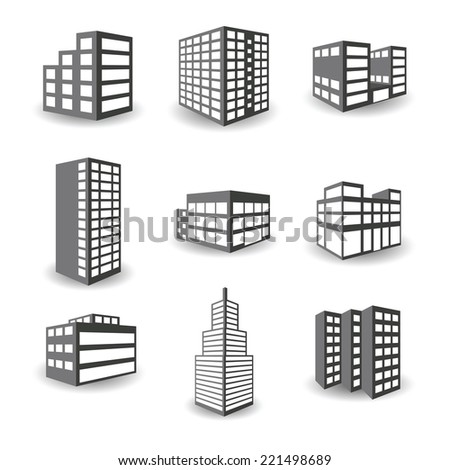 Set of bitmap isometric building icons isolated on white background - stock photo