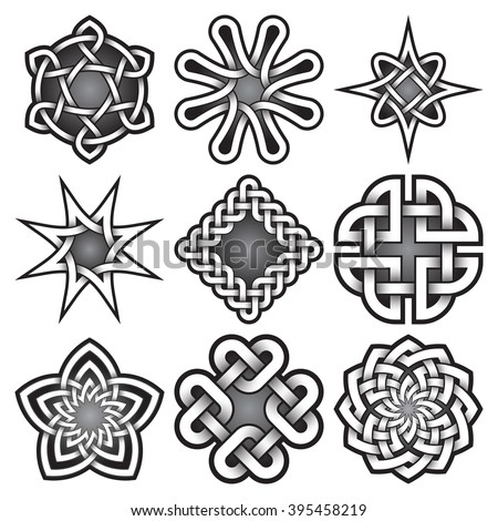 set of bitmap logo templates in celtic knots style tribal tattoo symbols package nine - Celtic Patterns To Colour