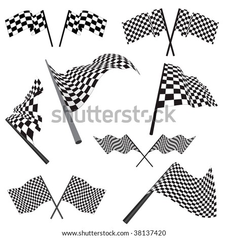 Set of black and white checked racing flags