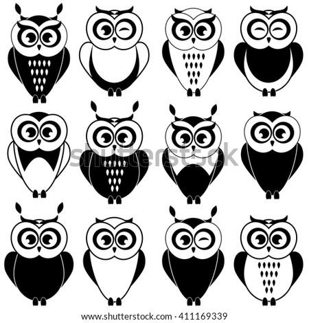 Set of black and white owls. Raster version - stock photo