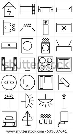 Set Black White Symbols Home Appliance Stock Illustration 633837641 ...