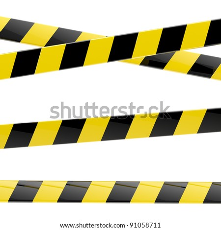Set of black and yellow glossy barrier tapes  isolated on white - stock photo