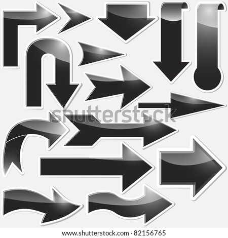 Set of black arrows stickers. - stock photo