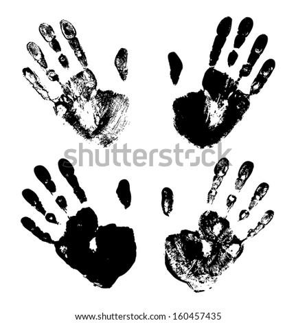 Set of Black Art Hand Prints, raster grunge illustration  - stock photo
