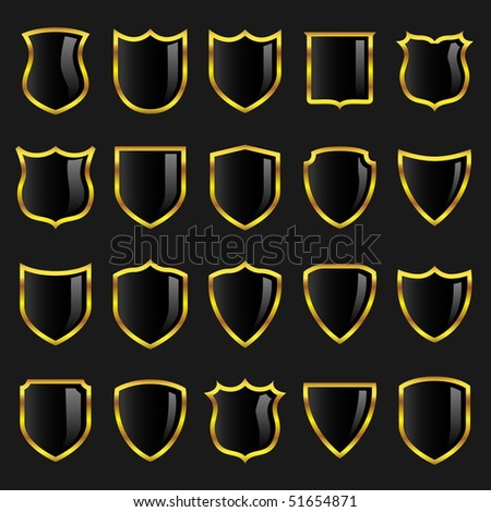 Set of black badges or shields with gold borders suitable for use in heraldry or design layouts. A vector illustration version of this image is also available in my portfolio.