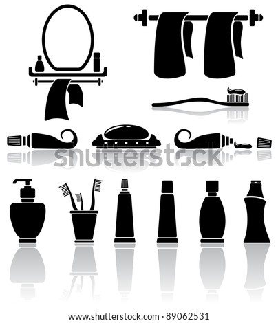 Set of black bathroom icons, illustration