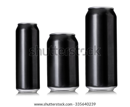 Set of 3 Black beer cans isolated on white background - stock photo