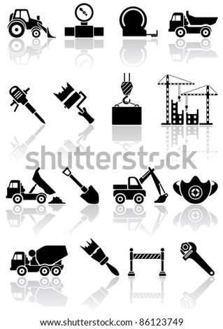Set of black building icons, illustration