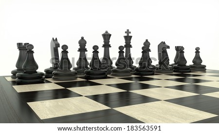 set of black chess figures on a classical chessboard on white background - stock photo
