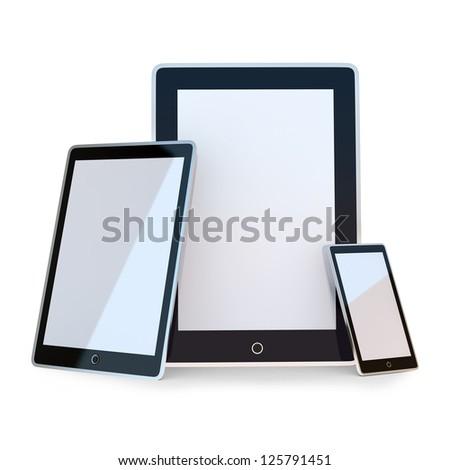 Set of black electronic device - stock photo