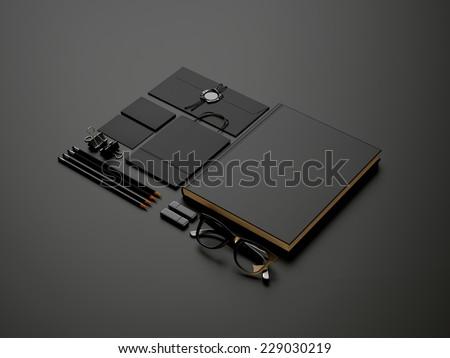 Set of black elements on dark paper background - stock photo
