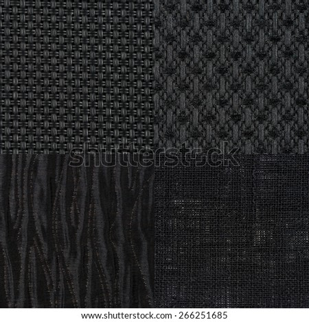 Set of black fabric samples, texture background. - stock photo