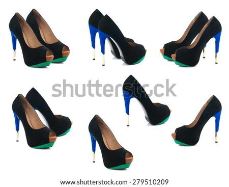 Set of black female shoes isolated on white background. - stock photo