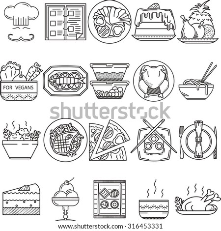 Set of 20 black flat line icons for restaurant or cafe food on white background.