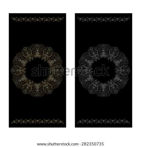 Set of black floral decorative background, template frame design for card, brochure, book, business card, postcard, wedding invitation, banner. Raster version. - stock photo