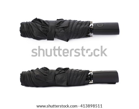 Set of Black folded umbrella isolated over the white background - stock photo