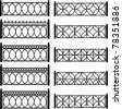 Set of black forged metal lattices of fence -  illustration isolated, white background. Architectural details (elements) - stock photo