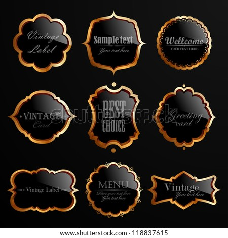 Set of black gold labels. Check my portfolio for vector version. - stock photo