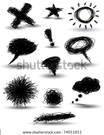 set of black hand-drawn pencil scribbles - stock photo