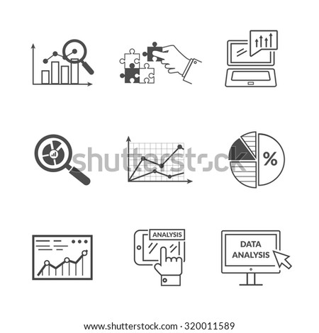 Set of black icons data analysis. Information optimization, trend development, idea and strategy, financial growth, infographic seo, process finance statistic. Set of thin, lines icons. Raster version - stock photo