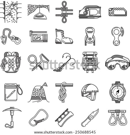 Set of black line icons for equipment and outfit for rock climbing, alpinism, mountaineering on white background for your site. - stock photo
