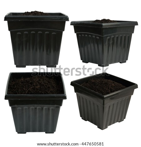 Set of black plastic flower pot isolated on white background with clipping path for design and other