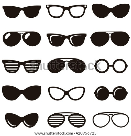 Set of black retro sunglasses icons. Raster version - stock photo