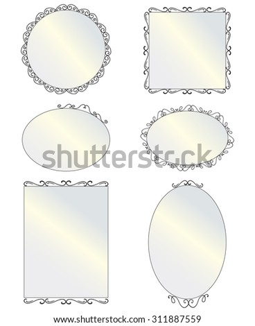 Set of black round and square vintage mirror, design elements. Illustration of hanging mirrors on a light background. Six different elegant oval and square shaped mirrors. - stock photo