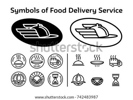 Set Black Signs Icons Service Fast Stock Illustration 742483987