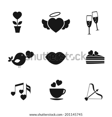 Set of black silhouette love and romance icons each with a heart with flower pot  winged heart  champagne  social media bird  lips  cake  music  cup and Cupids arrow for Valentines and wedding - stock photo