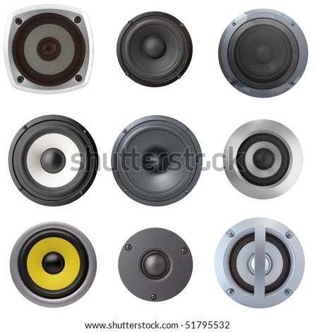 Set of black speaker with sphere - stock photo